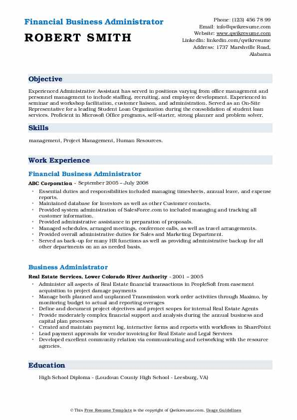 Financial Business Administrator Resume Template