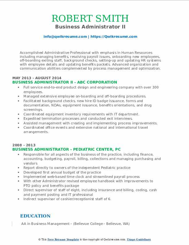 Business Administrator II Resume Format