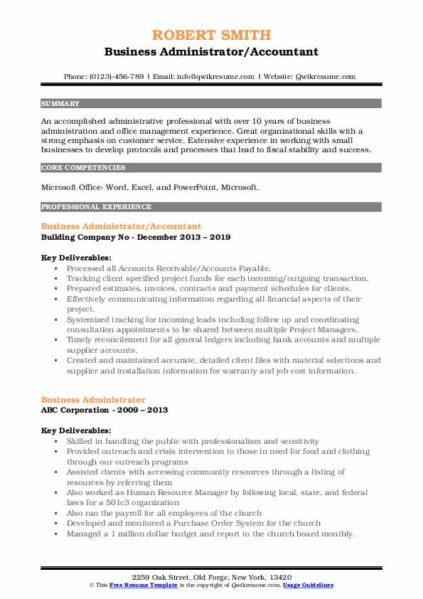 Business Administrator/Accountant Resume Model