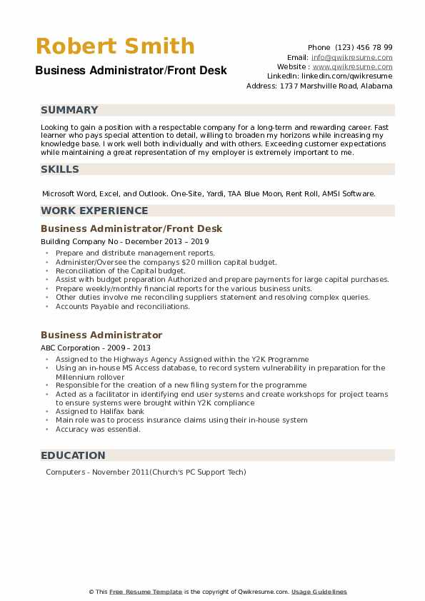 Business Administrator/Front Desk Resume Model