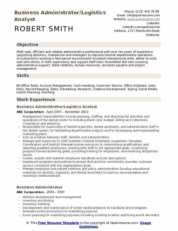 Business Administrator/Logistics Analyst Resume Model
