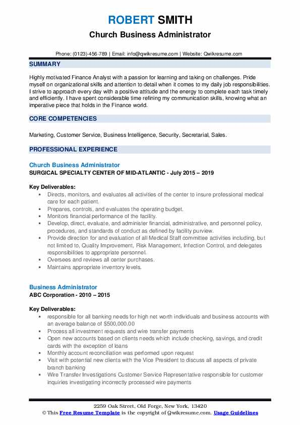 Church Business Administrator Resume Template