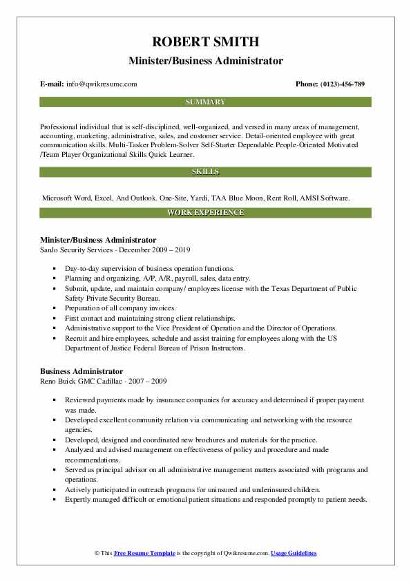Minister/Business Administrator Resume Template