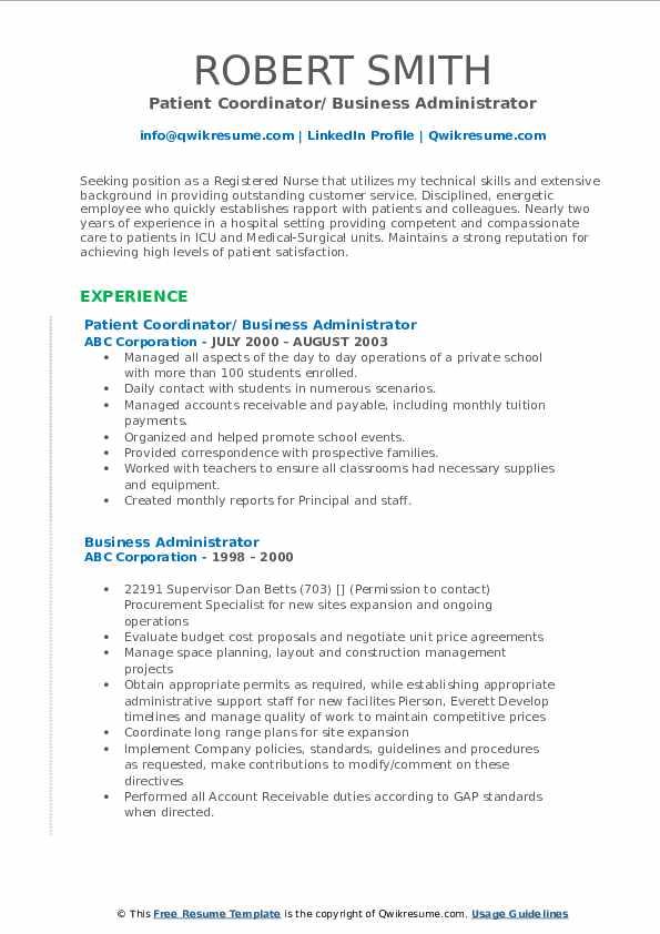Patient Coordinator/ Business Administrator Resume Example