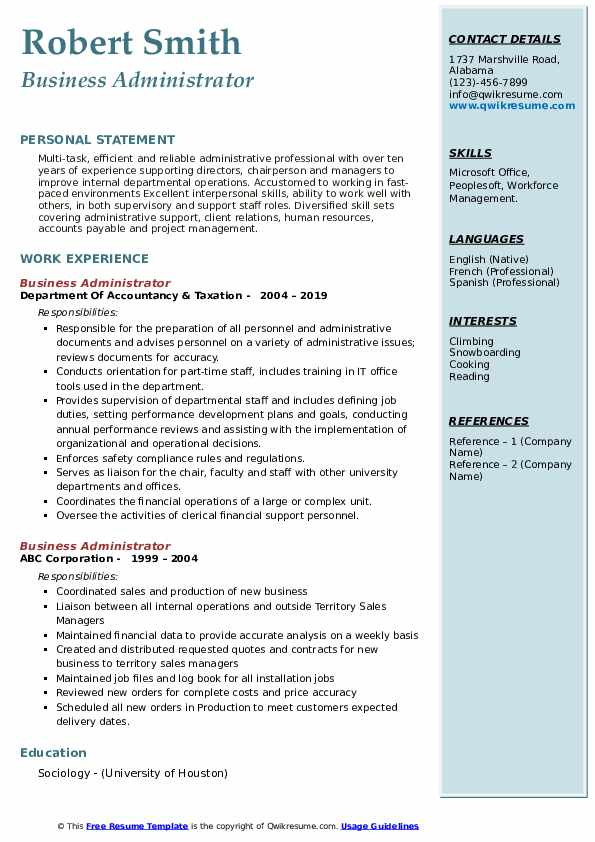 Business Administrator Resume example