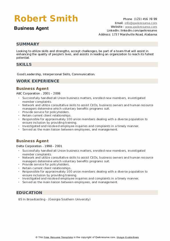 Business Agent Resume example