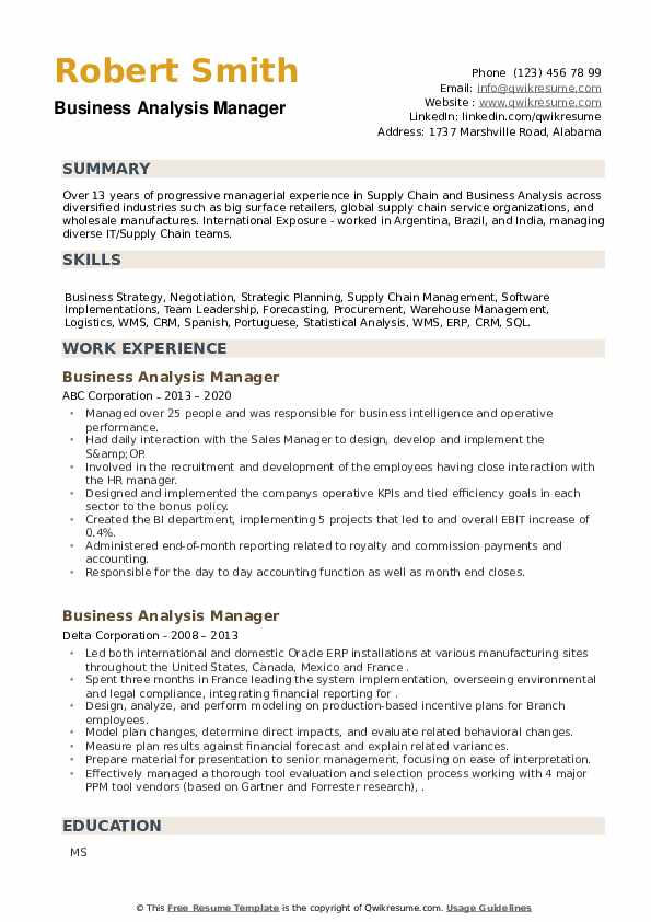 Business Analysis Manager Resume example