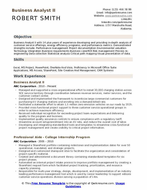 Business Analyst II Resume Example