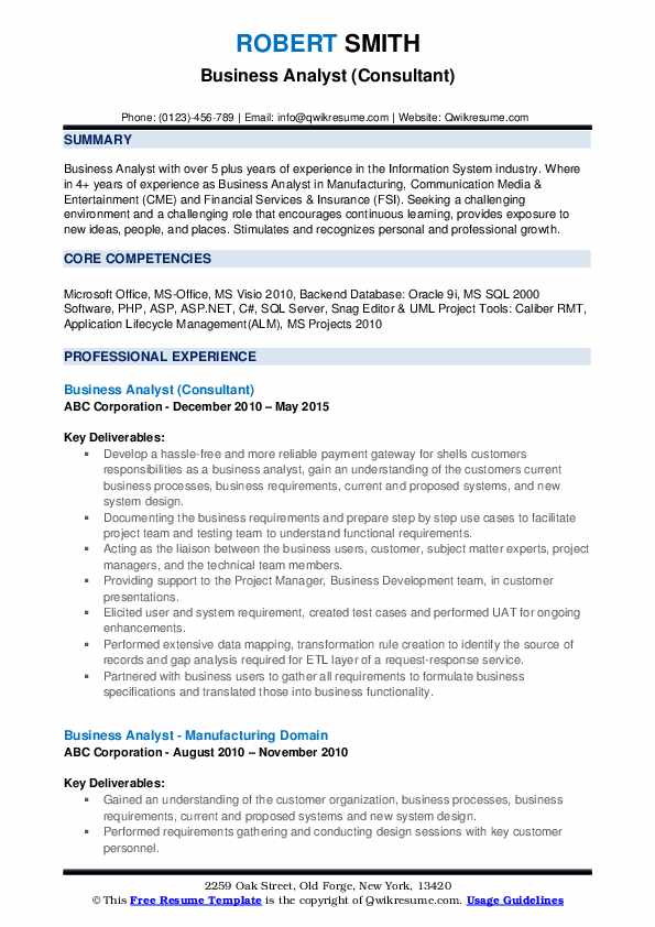 Business Analyst (Consultant) Resume Example