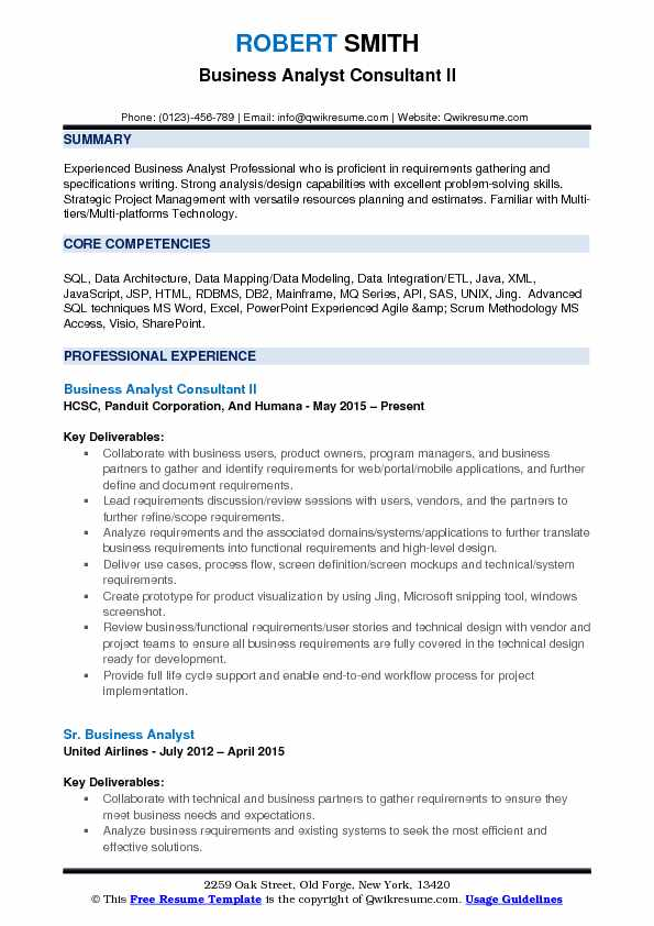 Business analyst consultant resume samples qwikresume business analyst consultant ii resume example wajeb Gallery