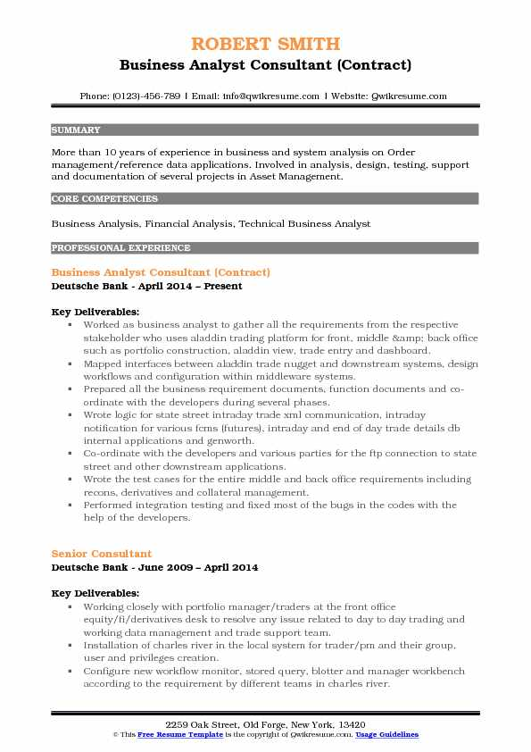 business analyst consultant resume samples