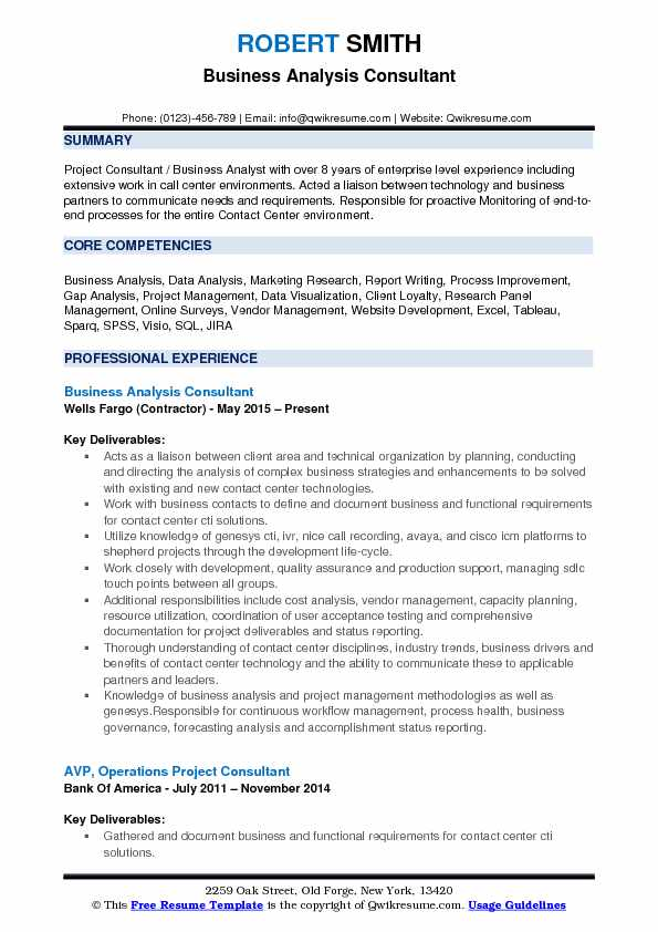 Business Analysis Consultant Resume Sample