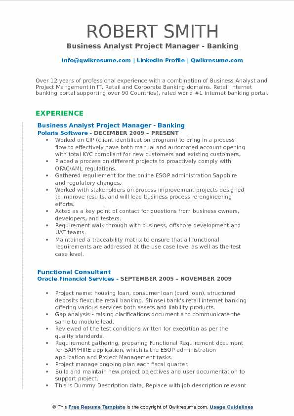 Business Analyst Project Manager - Banking Resume Sample
