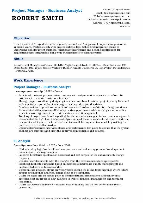Project Manager - Business Analyst Resume Model
