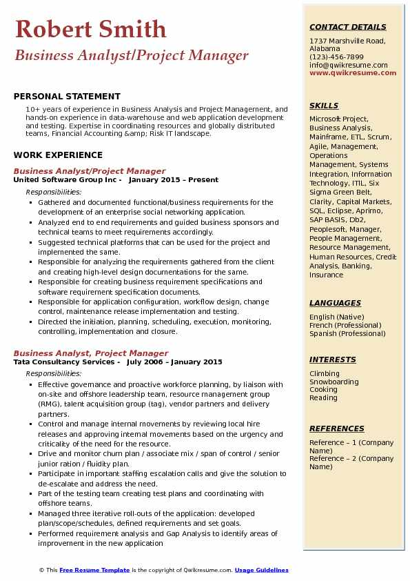 Business Analyst Project Manager Resume Model