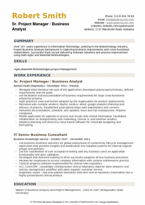 Sr. Project Manager / Business Analyst Resume Sample