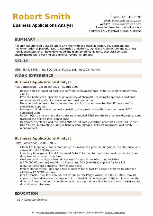 Business Applications Analyst Resume example
