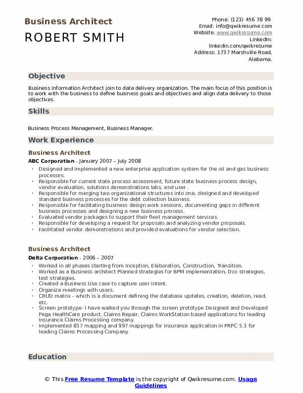 Business Architect Resume Samples