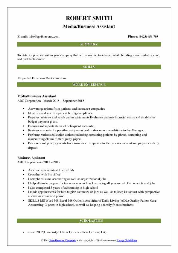 Media/Business Assistant Resume Template
