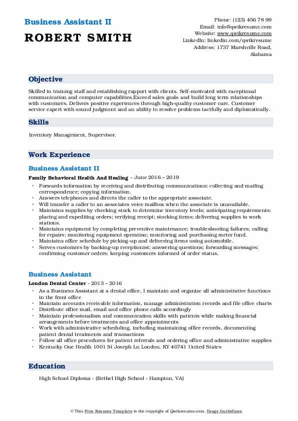 Business Assistant II Resume Format