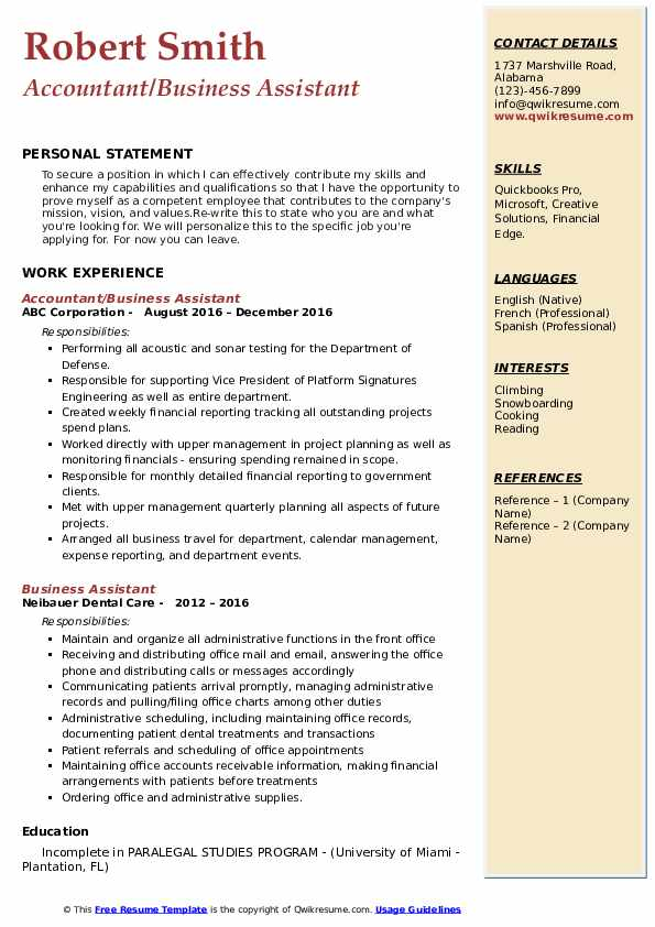 Accountant/Business Assistant Resume Template