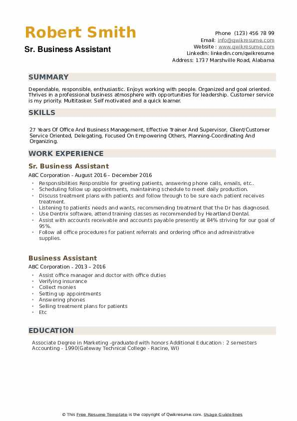 Sr. Business Assistant Resume Model