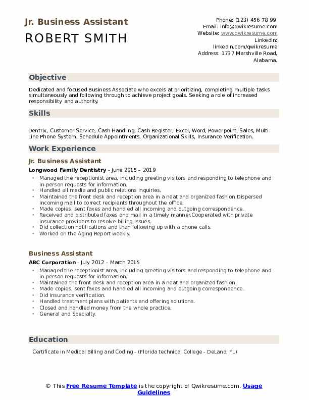 Jr. Business Assistant Resume Format