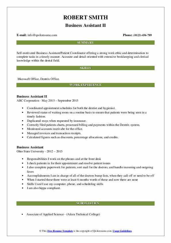 Business Assistant II Resume Sample