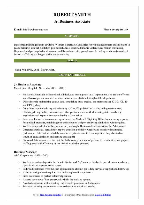 Jr. Business Associate Resume Example