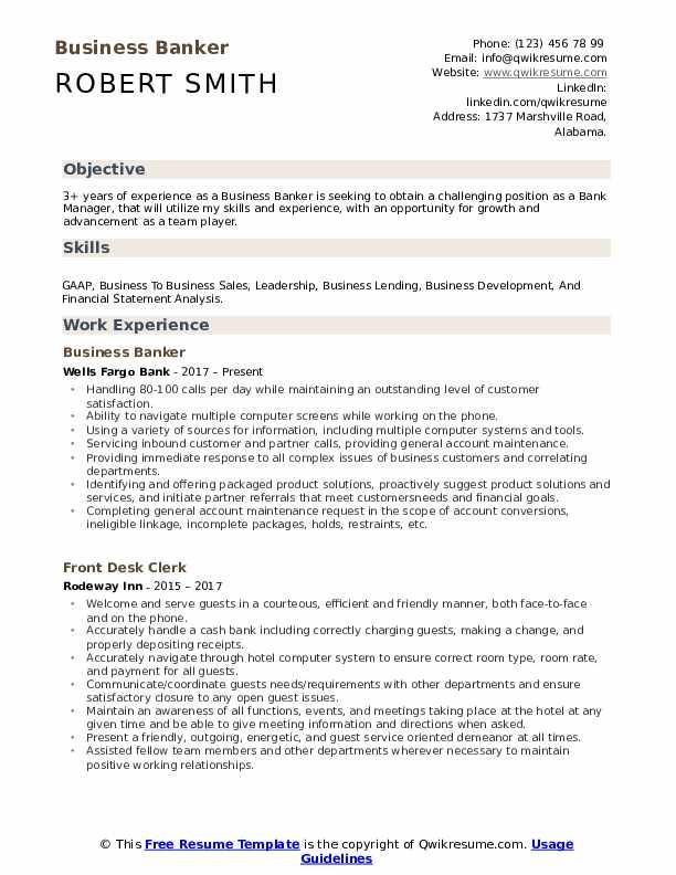 Business Banker Resume Format
