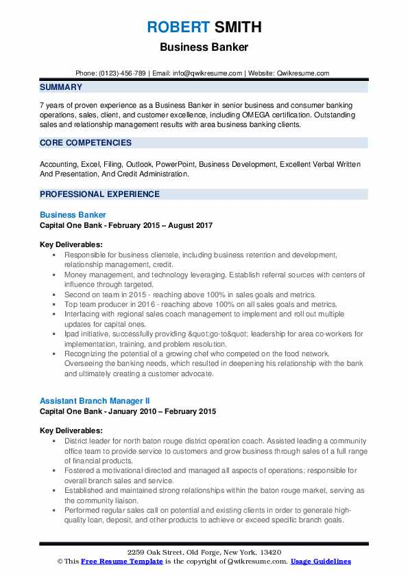 Business Banker Resume Example