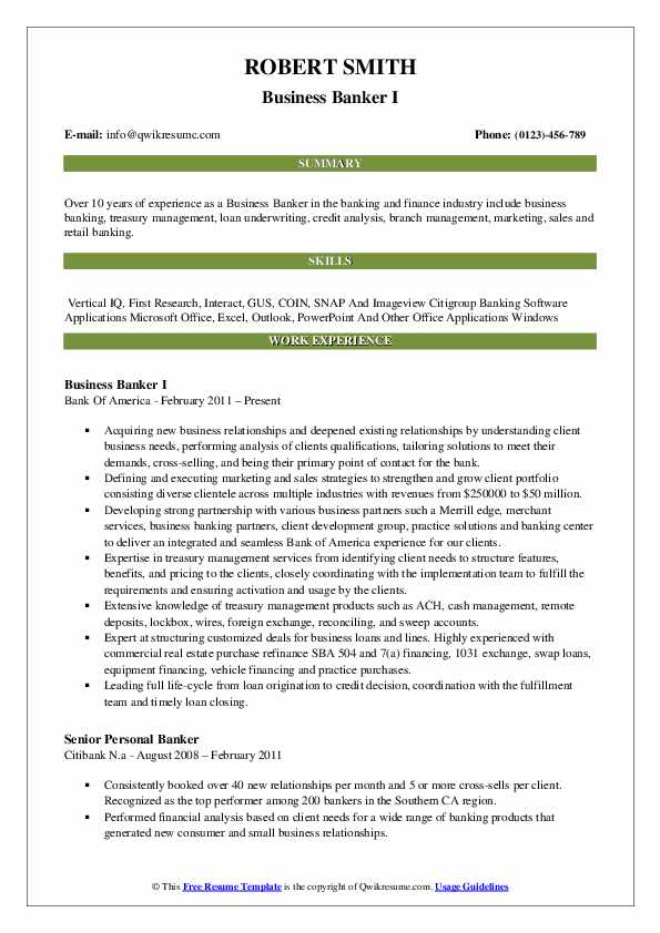 Business Banker I Resume Template