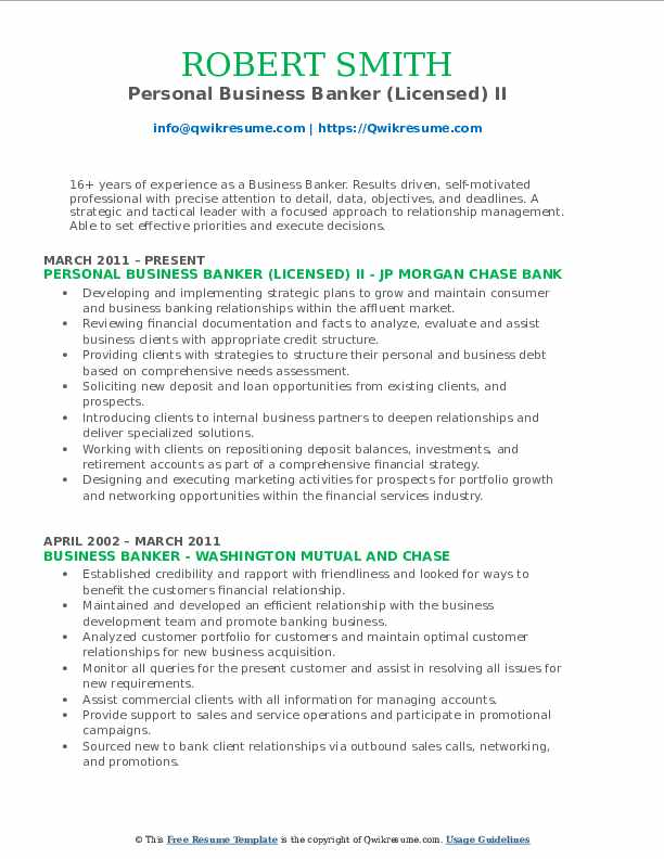 Personal Business Banker (Licensed) II Resume Sample