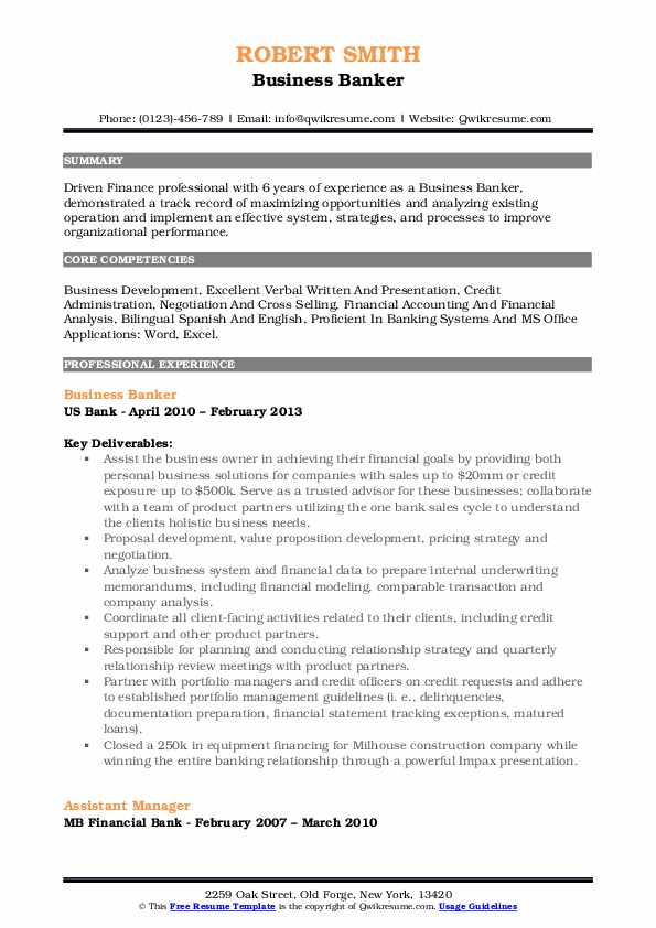Business Banker Resume Template