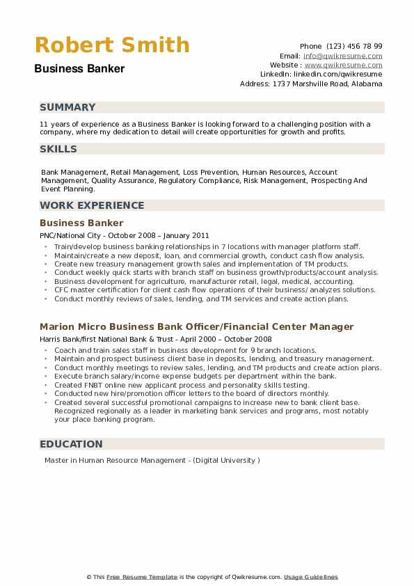 Business Banker Resume Sample