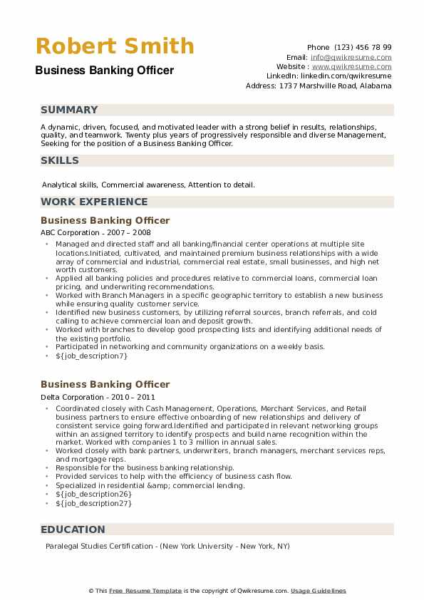 Business Banking Officer Resume example