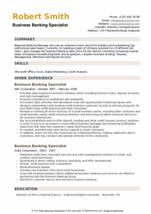 Business Banking Specialist Resume example
