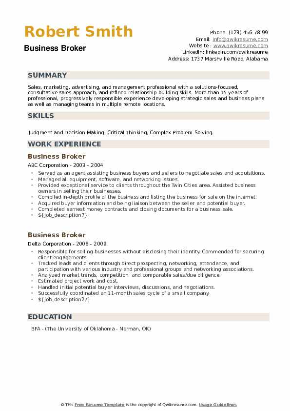 Business Broker Resume example