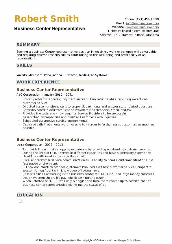 Business Center Representative Resume example