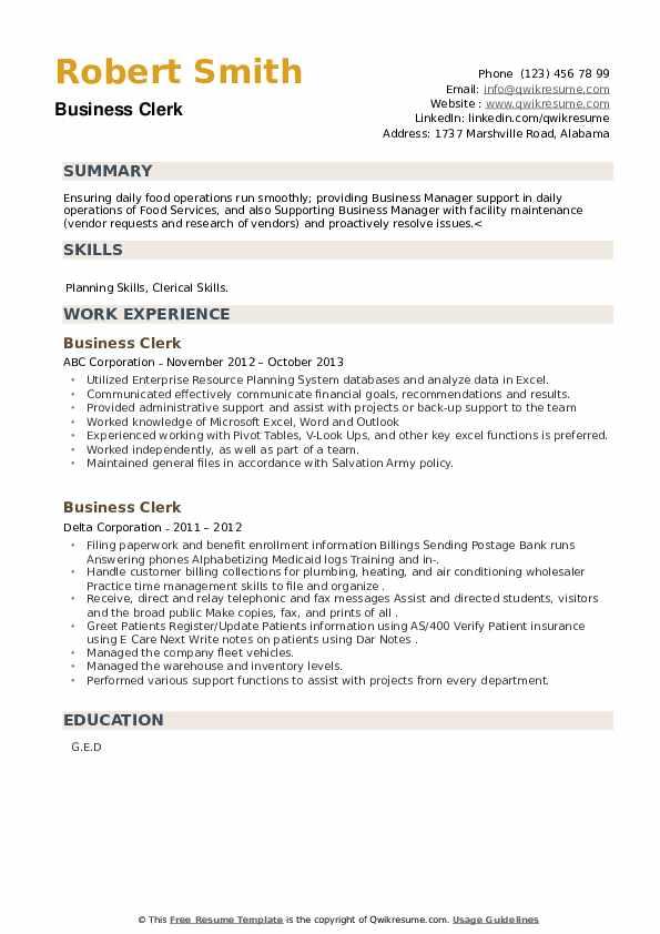 Business Clerk Resume example