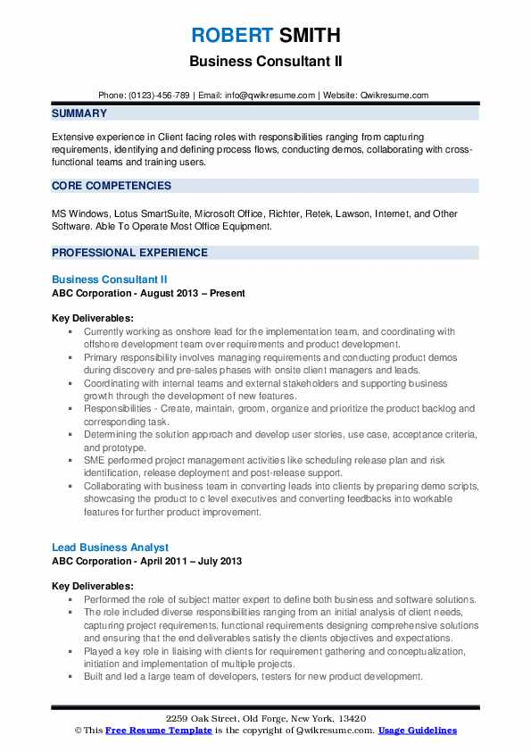 Business Consultant II Resume Sample