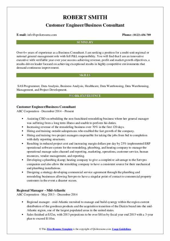 Customer Engineer/Business Consultant Resume Model
