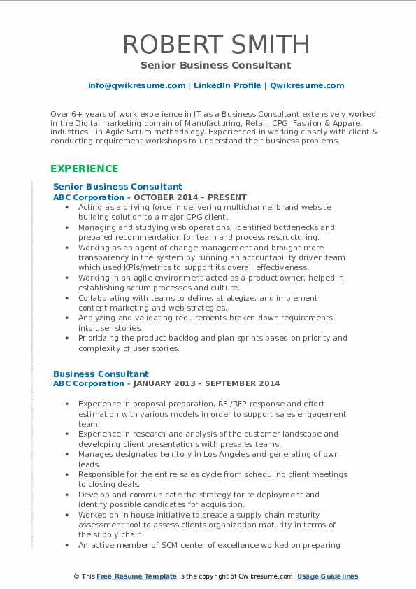 Senior Business Consultant Resume Model