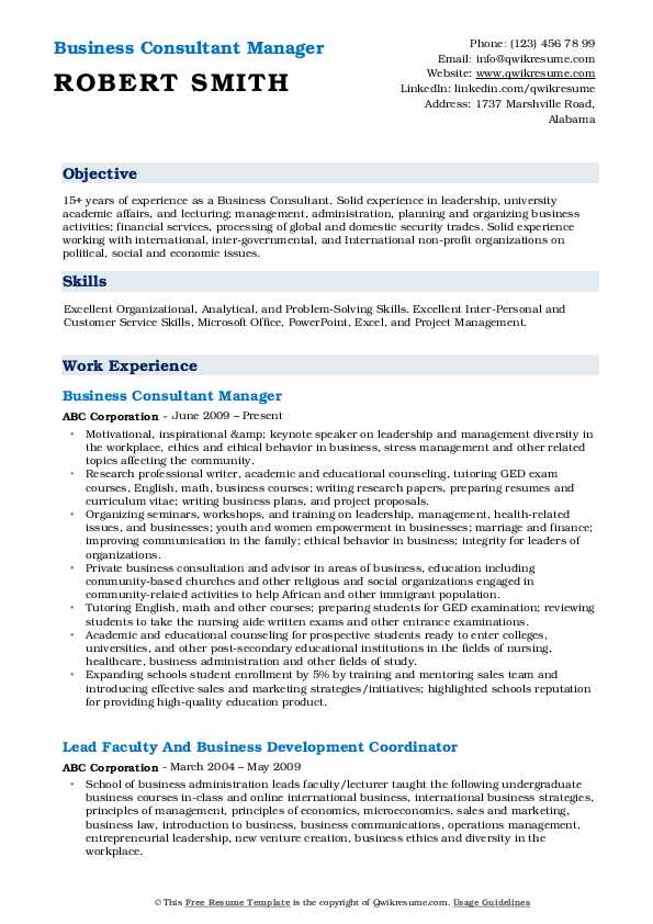 Business Consultant Manager Resume Sample