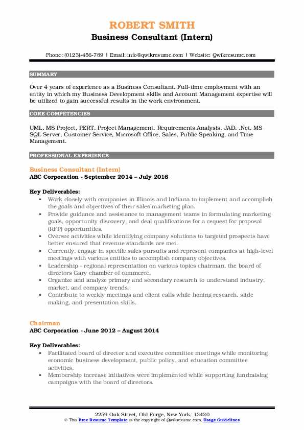 Business Consultant (Intern) Resume Sample