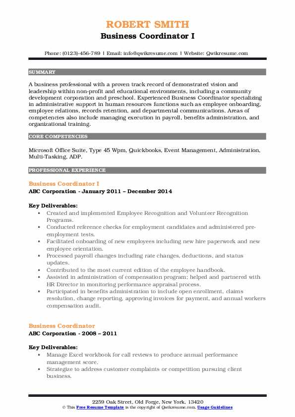 business coordinator resume samples