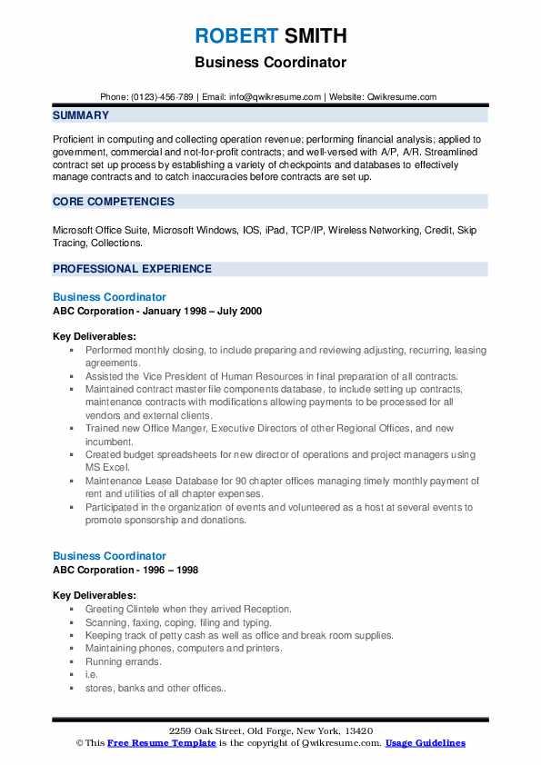 Business Coordinator Resume example