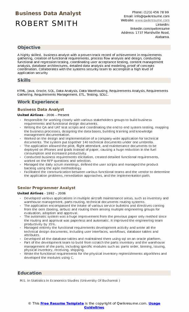 Business Data Analyst Resume Samples | QwikResume