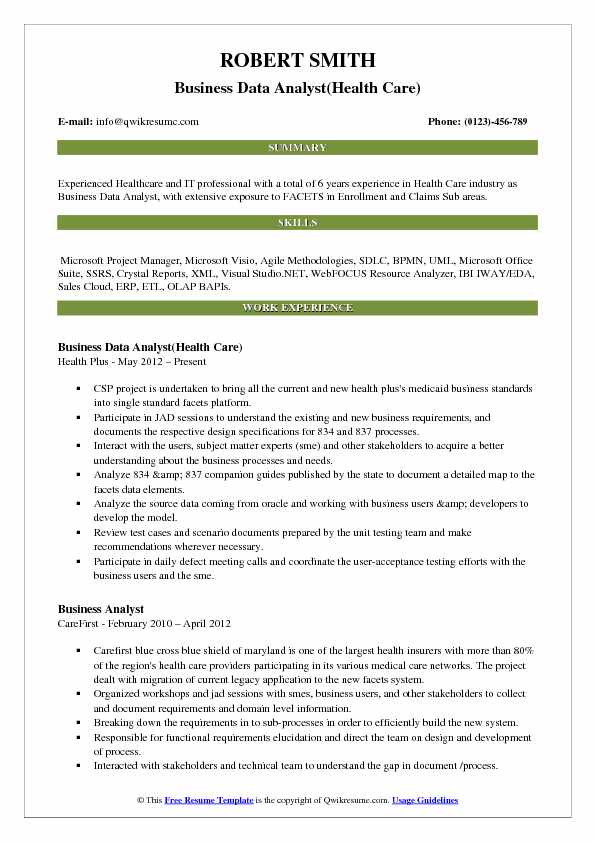 business data analyst resume samples