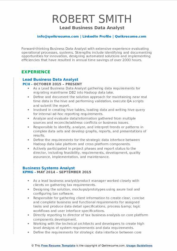 Lead Business Data Analyst Resume Template